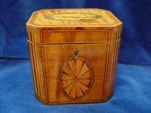 George III, antike Schatulle, um 1790-1800, England. octagonal TEA CADDY, dated about 1790-1800