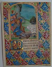 "Illuminated manuscript on vellum, ""The Annunciation to the Shepherds"""
