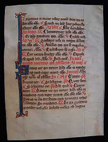 Original MEDIEVAL Manuscript dated about 1300 A.D. Northern France. One Breviary vellum leaf.