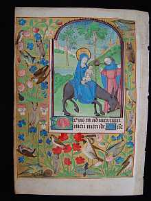 Original MEDIEVAL leaf with a painted Miniature *Flight into Egypt* dated about 1470 A.D. Bourges, France.